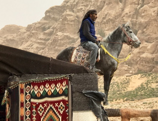 Bedouin on horseback, Jordan, Travel
